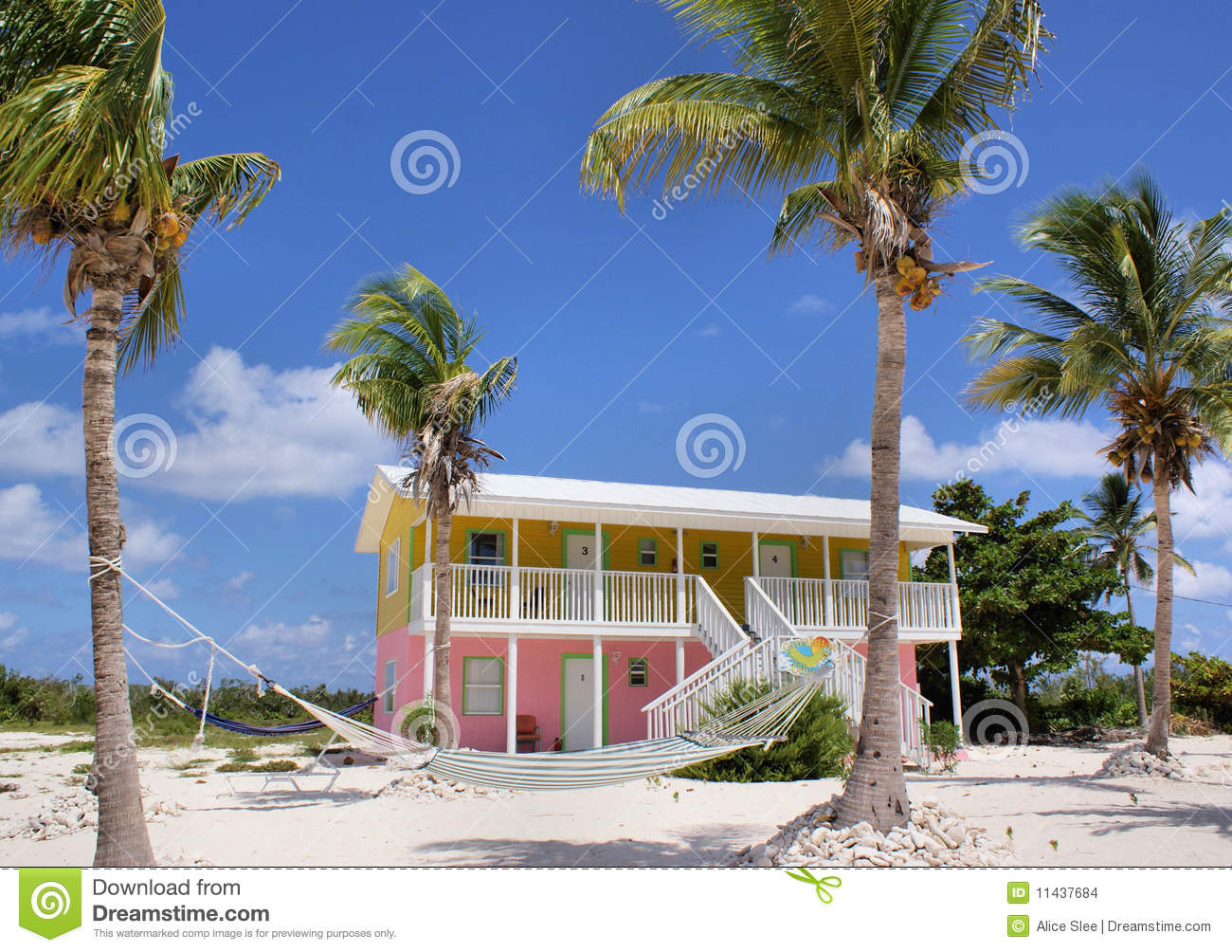 Amazing Colourful Pink And Yellow Beach House On Little Cayman In