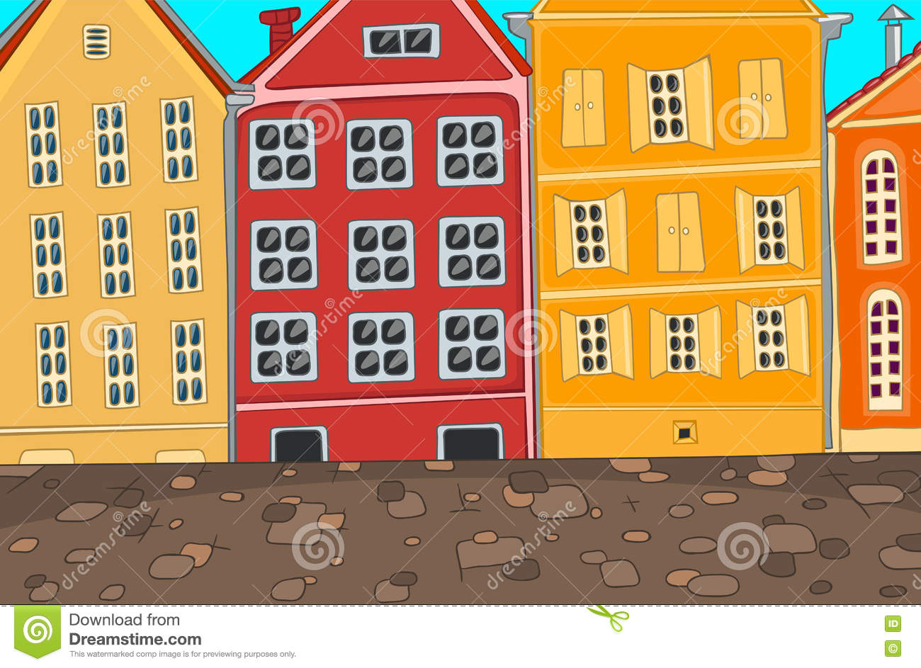 Colourful Cartoon Background Of City Street Stock Illustration