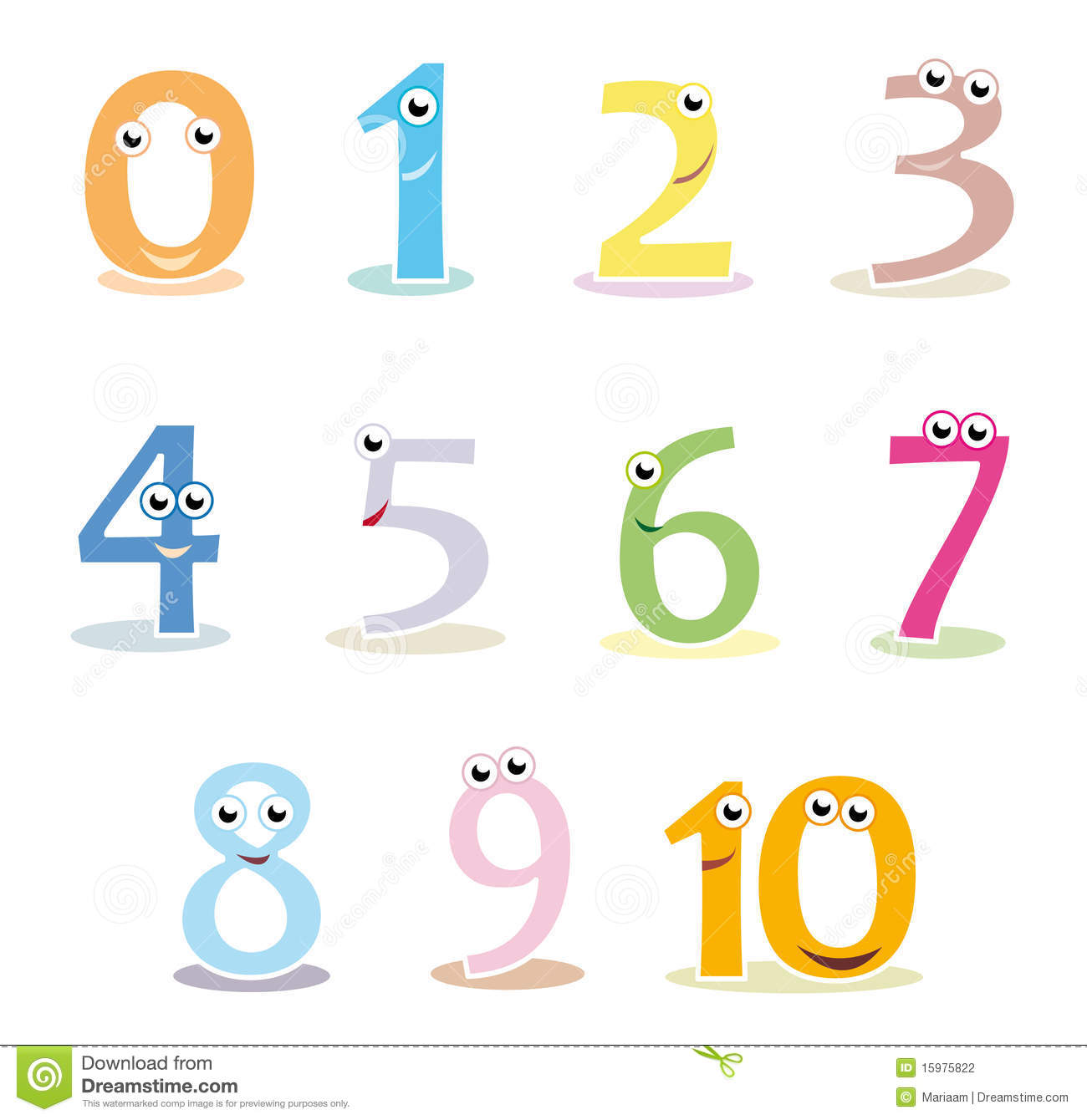 Colourful Cartoon Numbers Stock Vector. Illustration Of