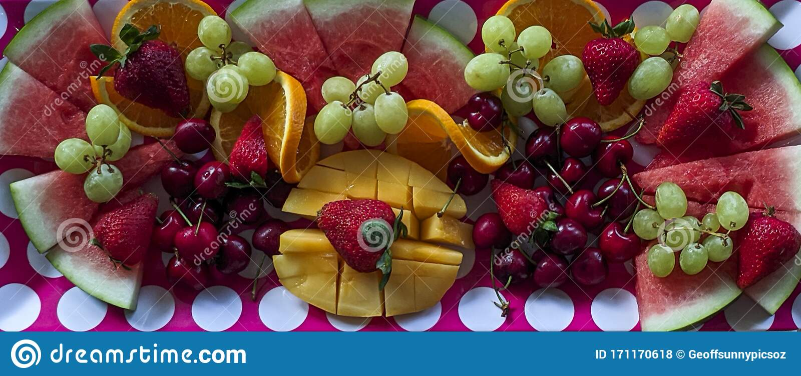 A Colourful Christmas Breakfast Fruit Platter On A Dining Table Closeup Stock Photo Image Of Melon Grapes 171170618
