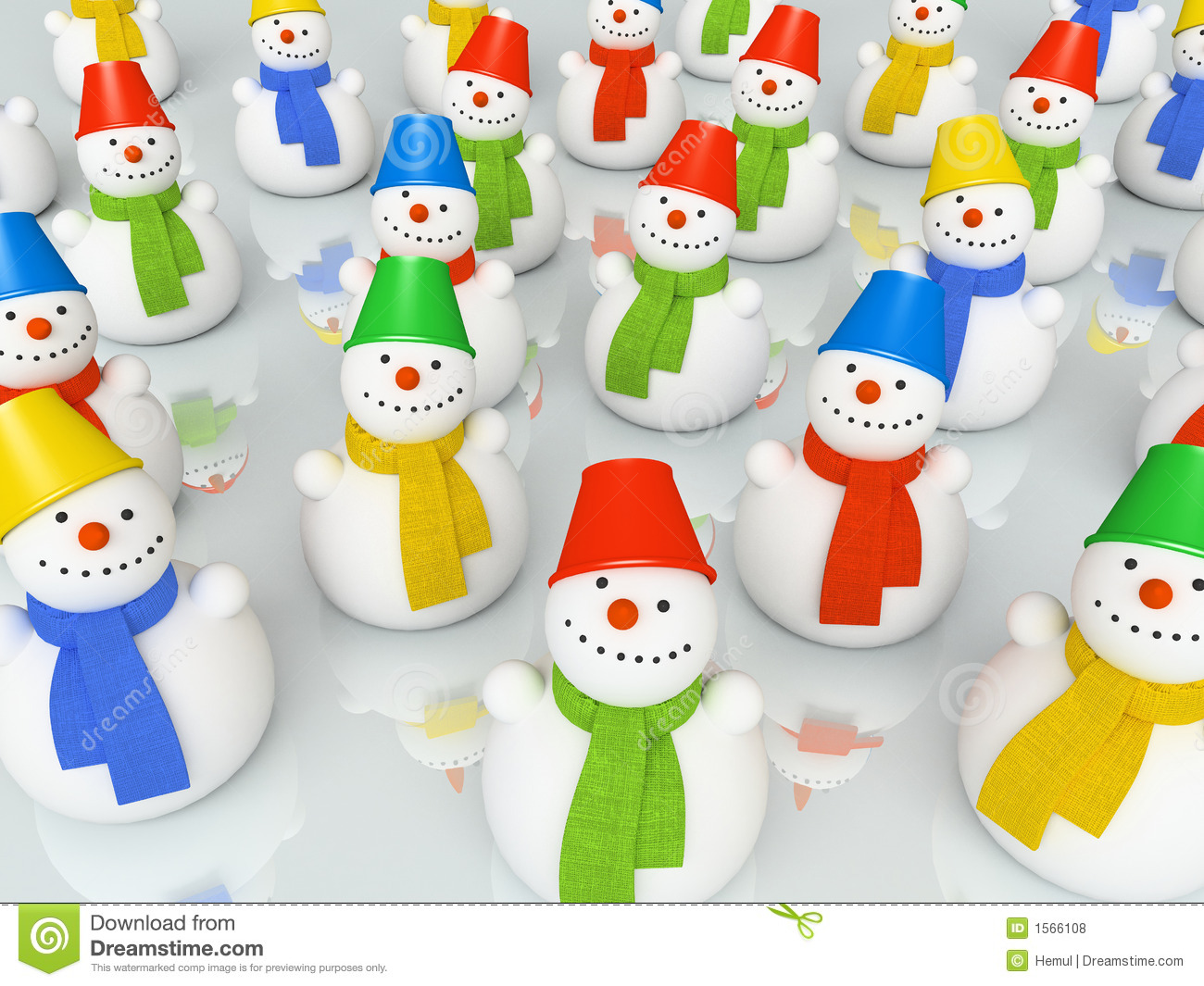 Colourful christmas snowmans in scarfs on skating rink