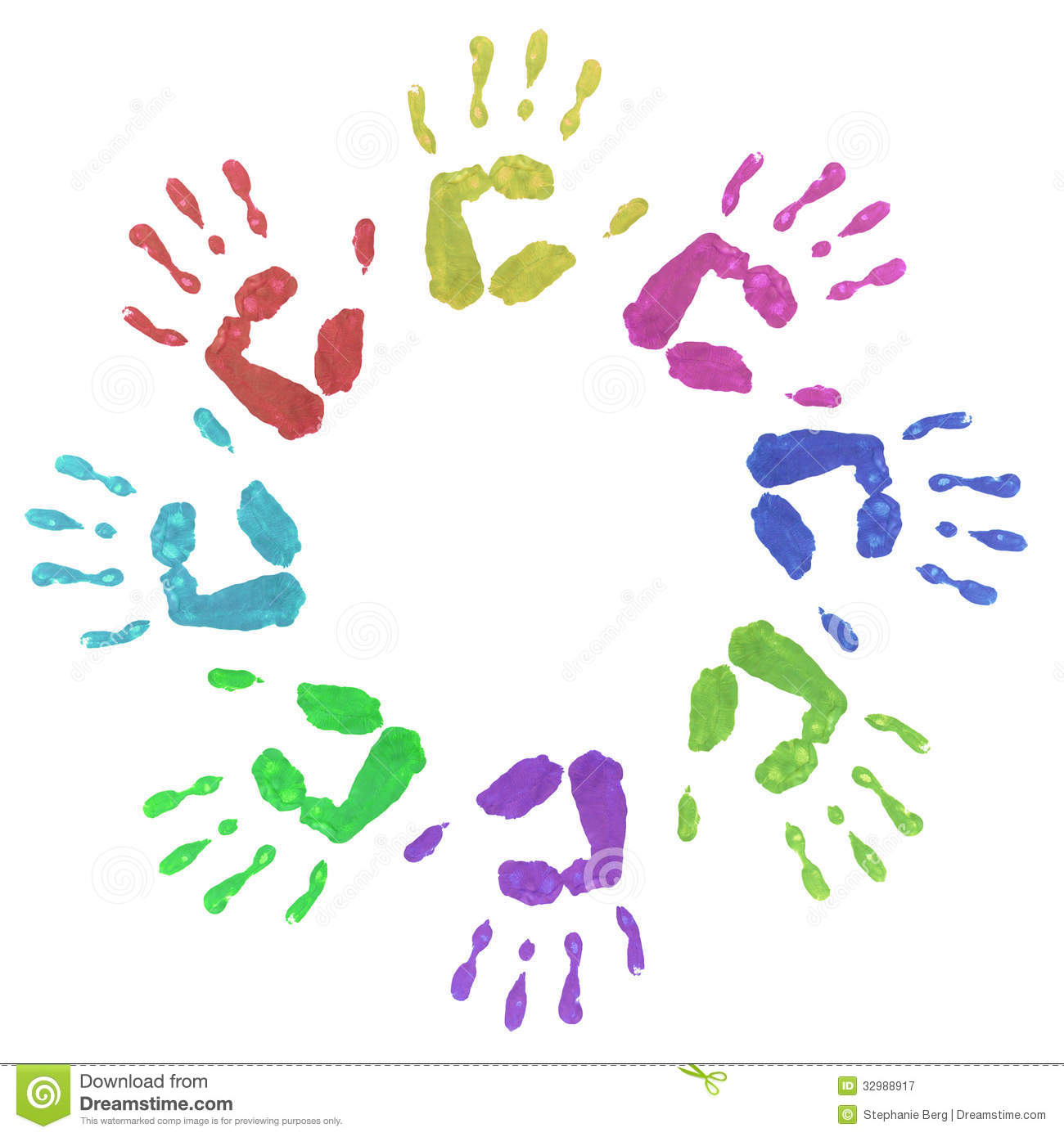 Colourful Circle Hand Prints Royalty Free Stock Photography - Image ...