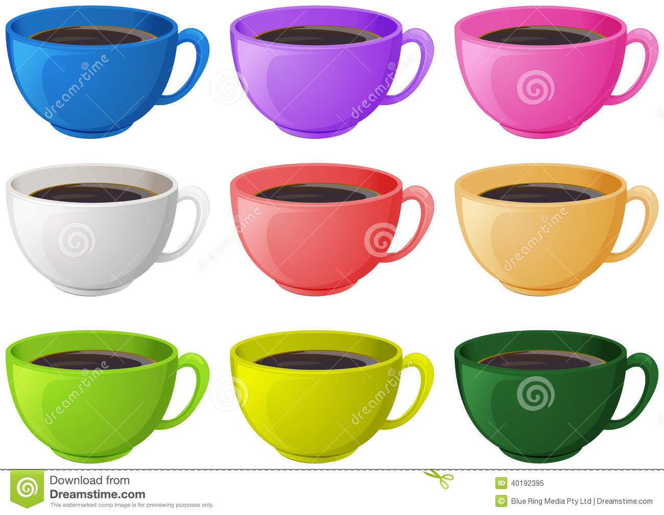 colourful cups with coffee stock vector image of group