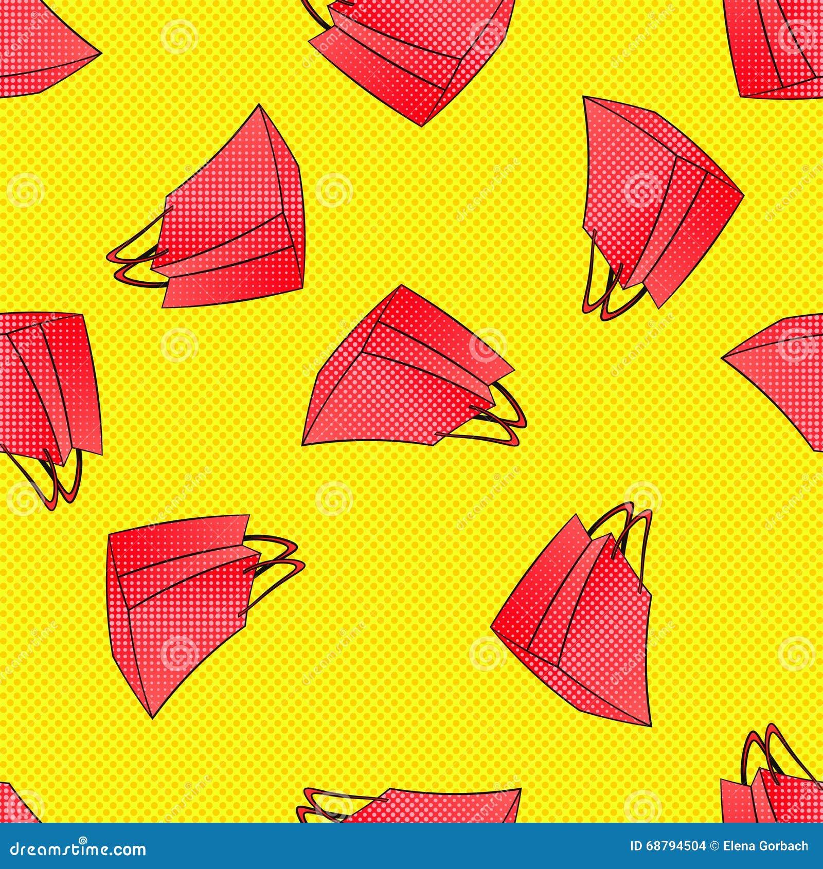 Colourful czerwieni menchii torba na zakupy bezszwowy wzór czarny Piątek, sezonowa wiosny lata zimy jesieni sprzedaż rabat