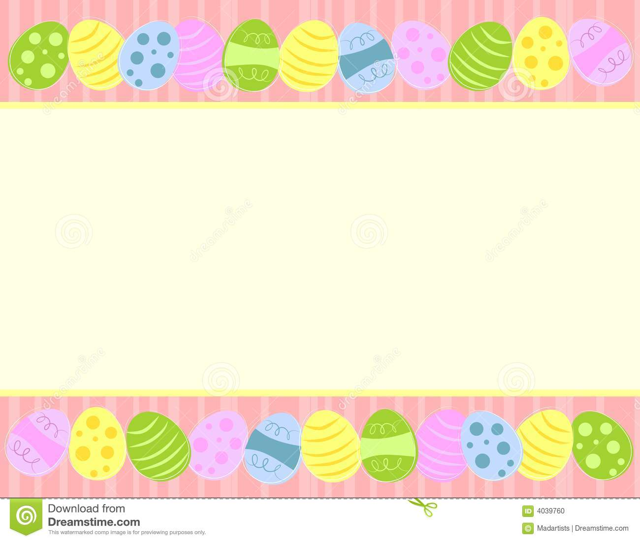 An illustration featuring Easter eggs as a top and bottom border in ...