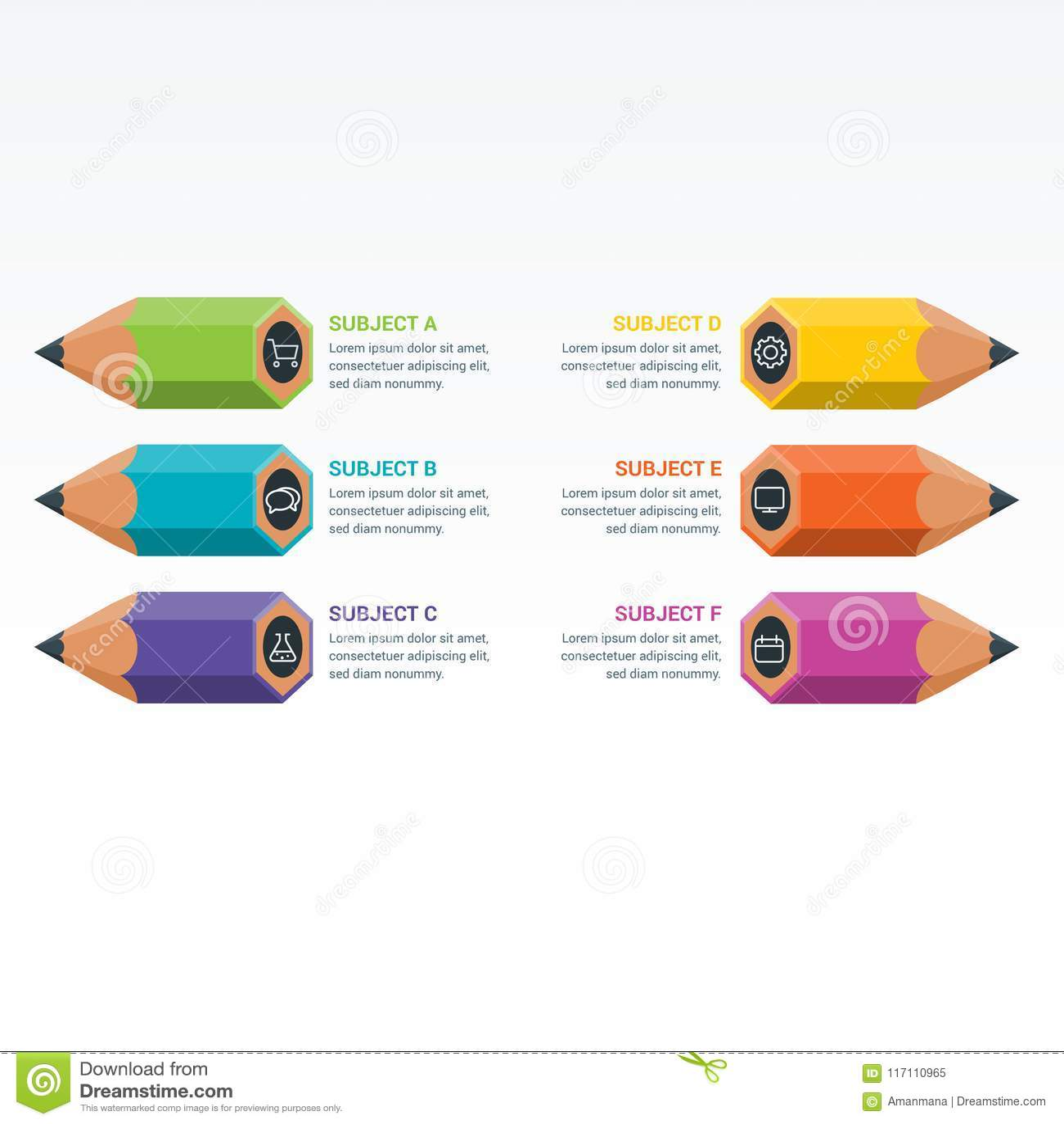 Colourful edukacja elementów Infographics ołówek