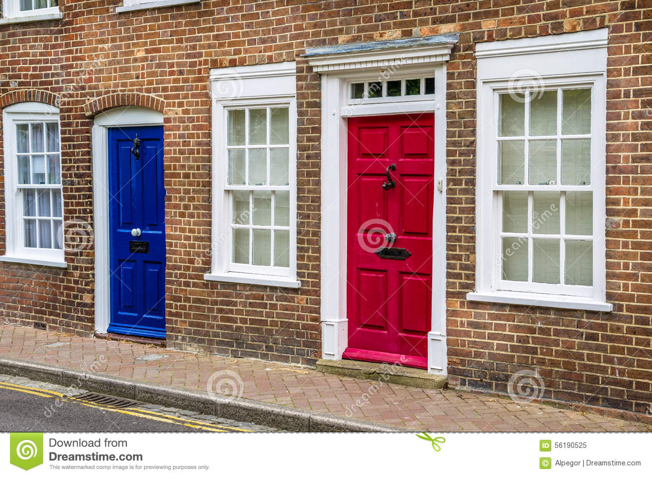 Colourful Front Doors Of A Terraced House In Britain Stock