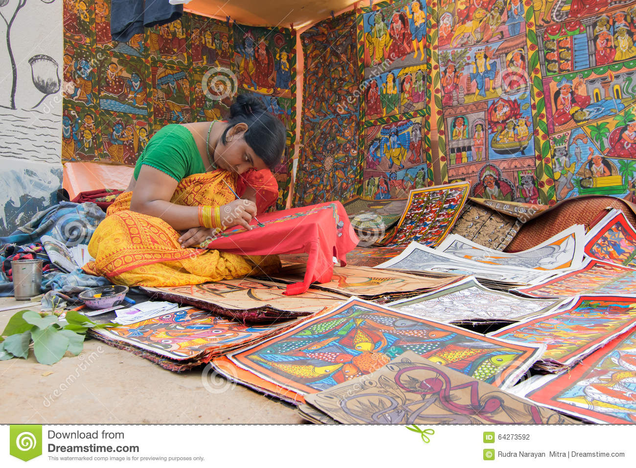 Colourful Handicrafts Being Prepared For Sale In Pingla Village By