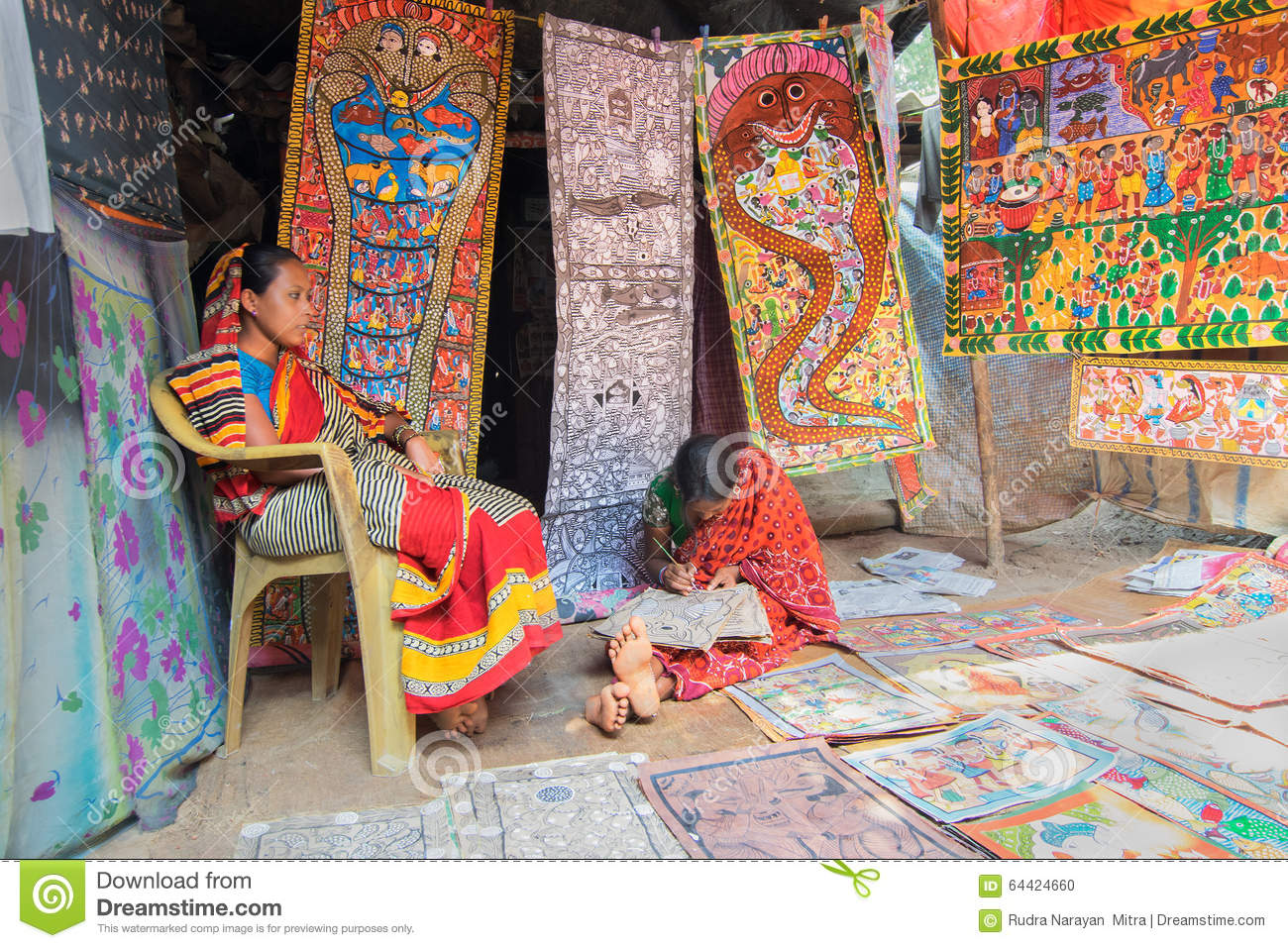 Colourful Handicrafts Are Being Prepared For Sale In Pingla Village