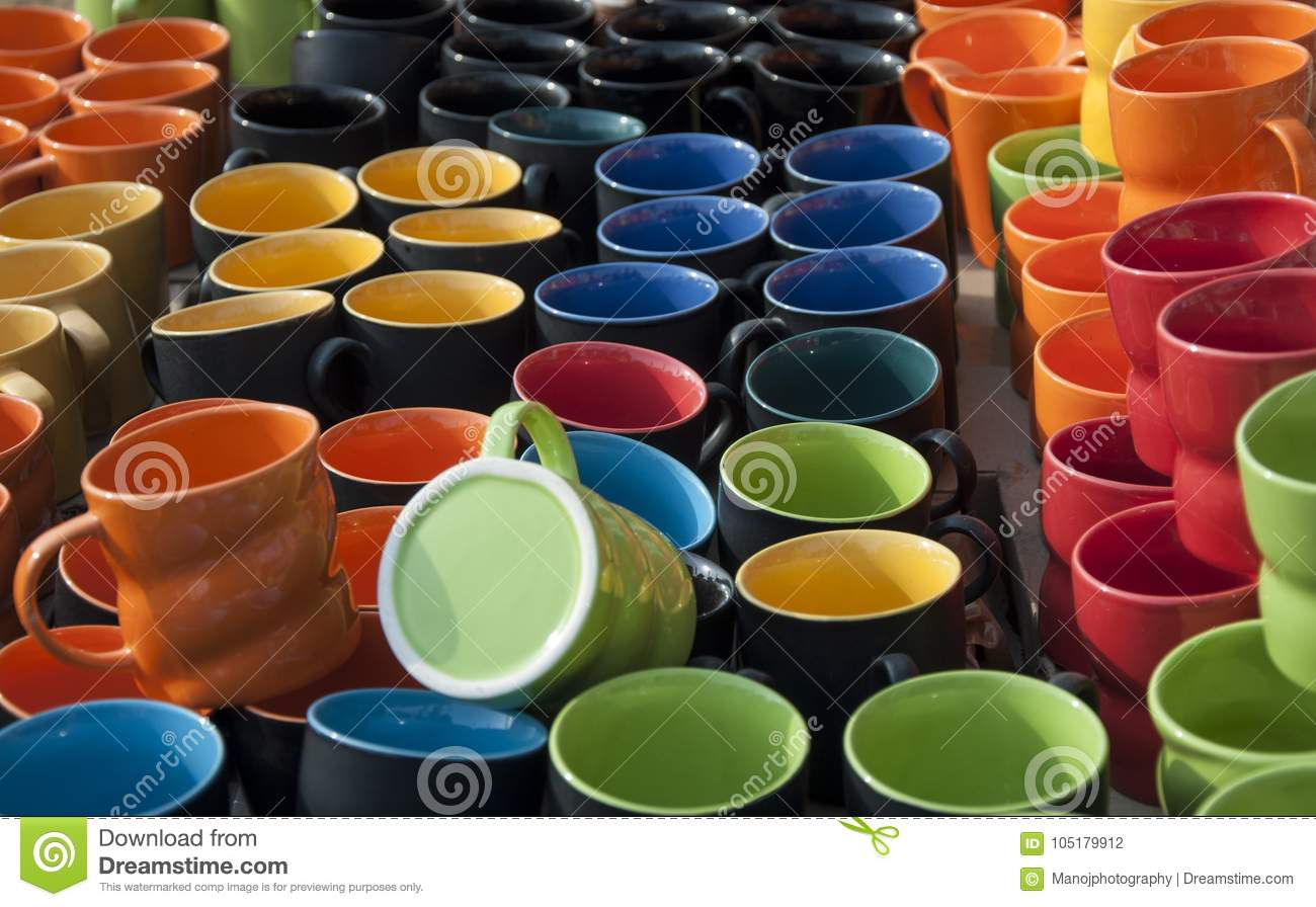 Colourful Handmade Ceramic Pottery Mugs Cups Stock Photo Image Of Displayed Pleasurable 105179912