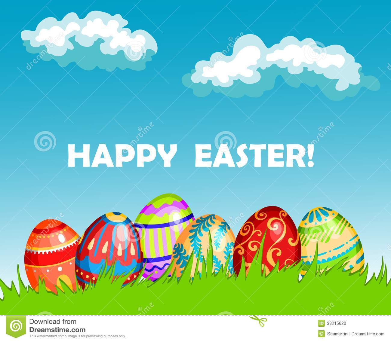 Colourful Happy Easter Greeting Card Design Stock Vector