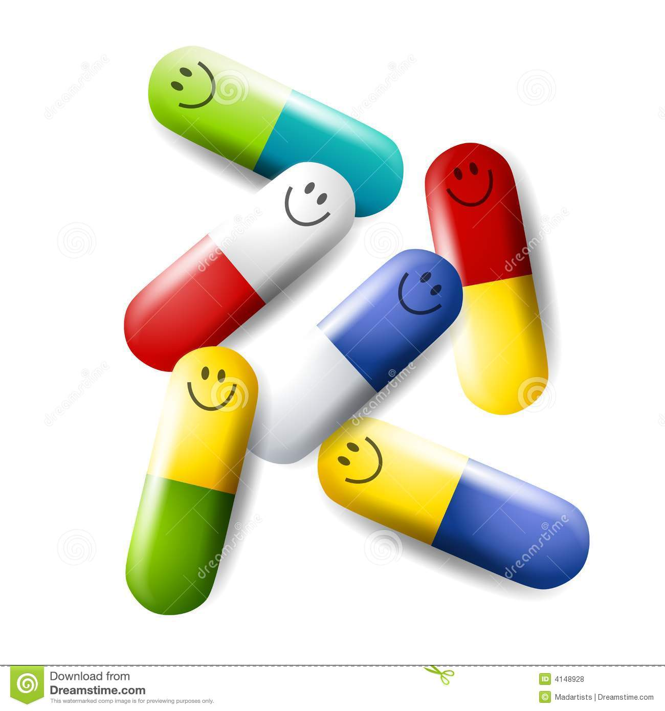 clip art illustration featuring a number of colourful pills with ...