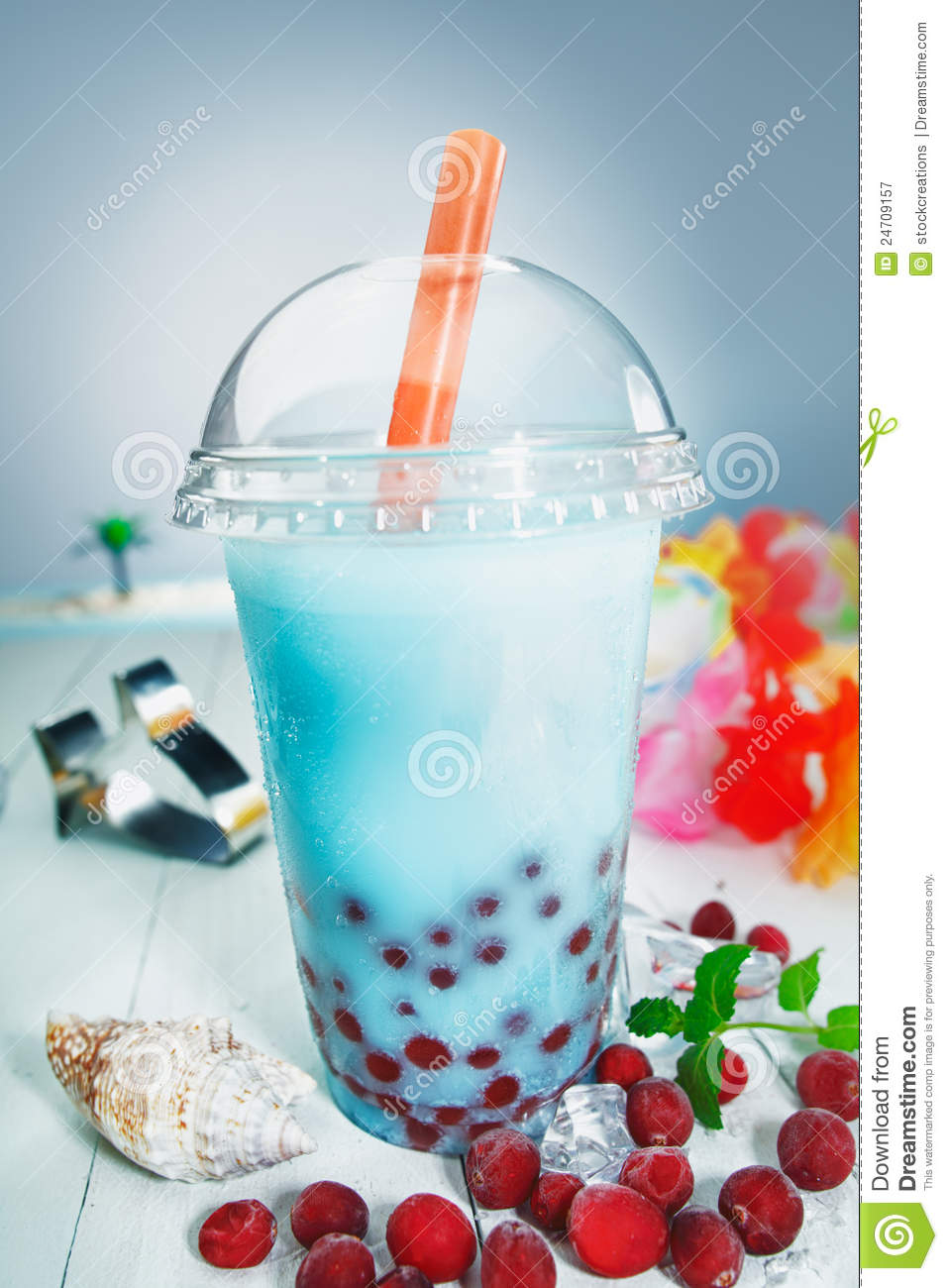 Colourful Healthy Boba Or Bubble Tea Stock Image Image