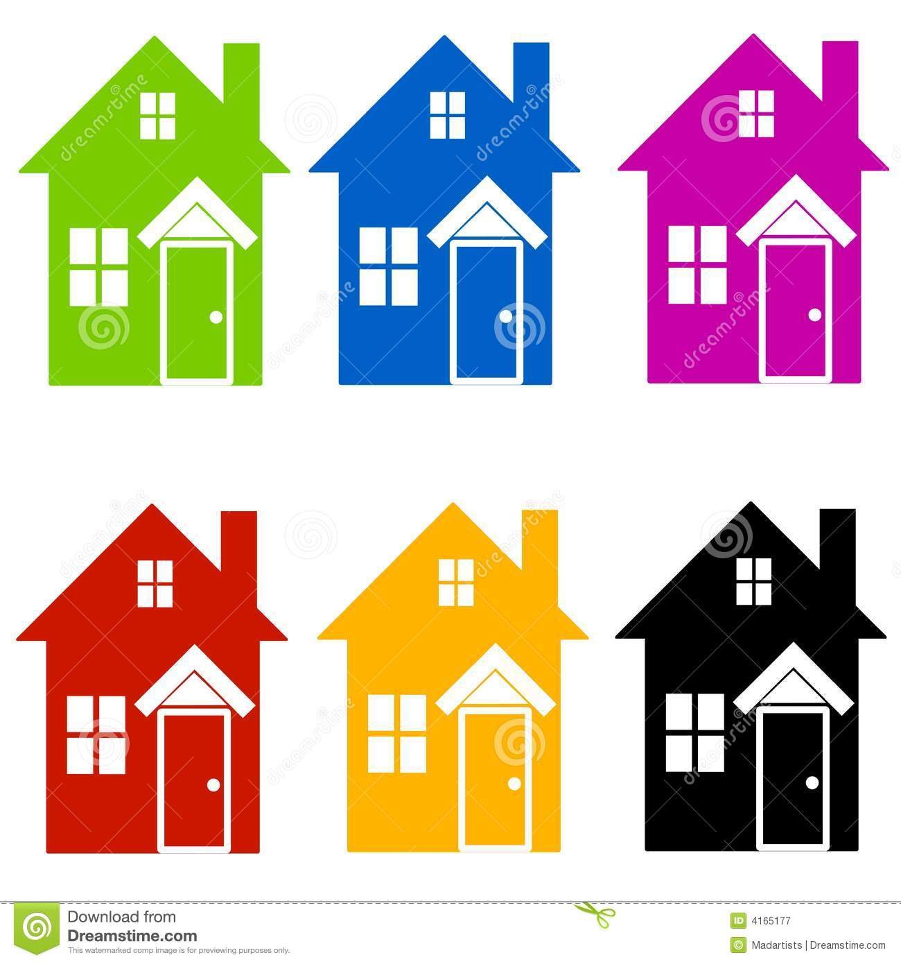colourful house silhouettes clip art stock illustration rh dreamstime com free clip art house key free clip art house painting