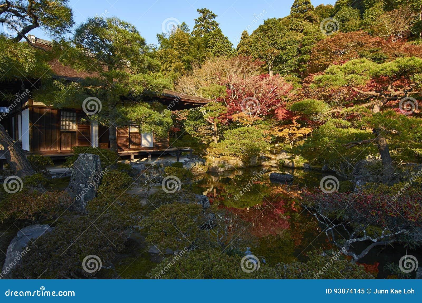 Colourful Japanese Garden In Ginkaku-ji Temple Kyoto During Sunset ...