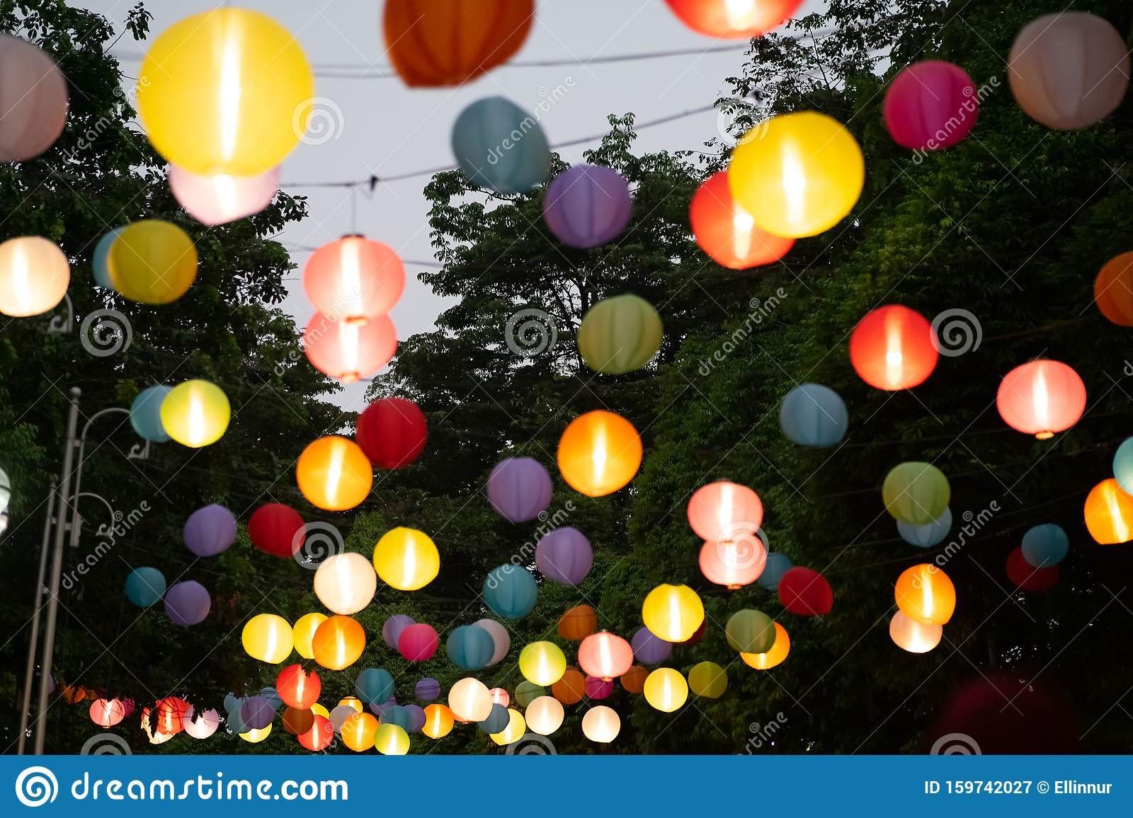 Colourful Lanterns Hanging In The Park Stock Image Image Of Bright Colorful 159742027