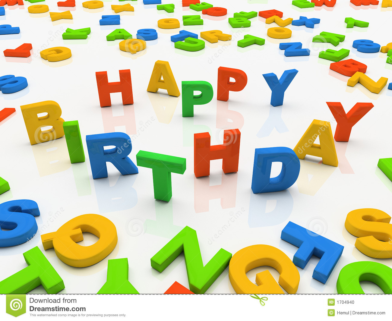 Colourful letters isolated on white background Happy Birthday