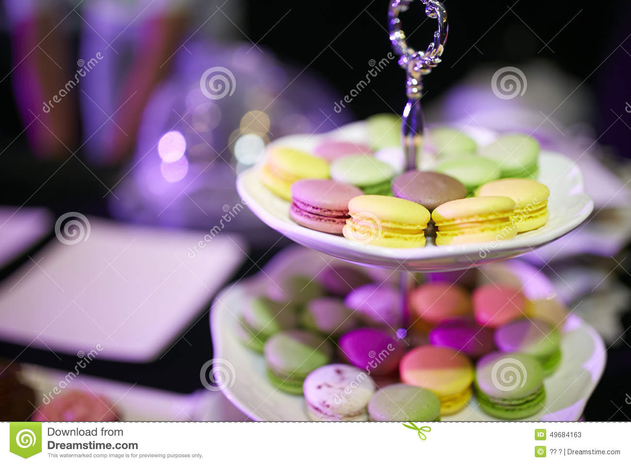 Colourful Macarons Small Cake In Plated Essert Table Setting