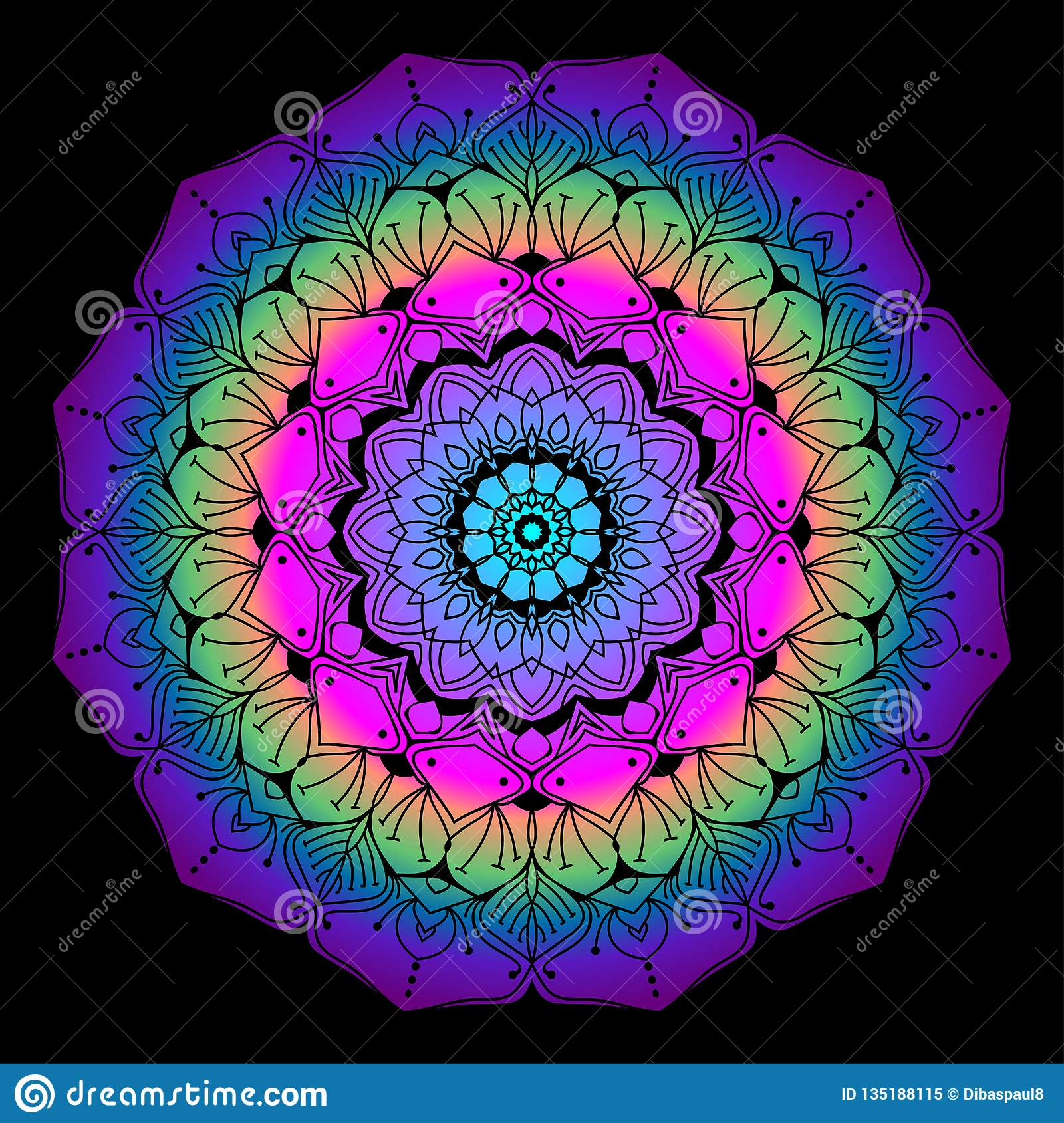 Colourful Mandala For Adult Coloring Page Stock Vector ...