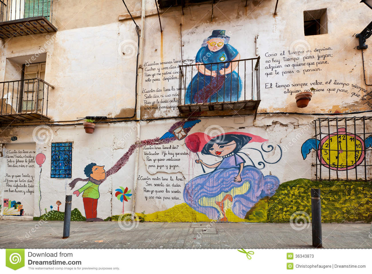 Colourful murals on an exterior wall editorial stock photo for Exterior wall mural
