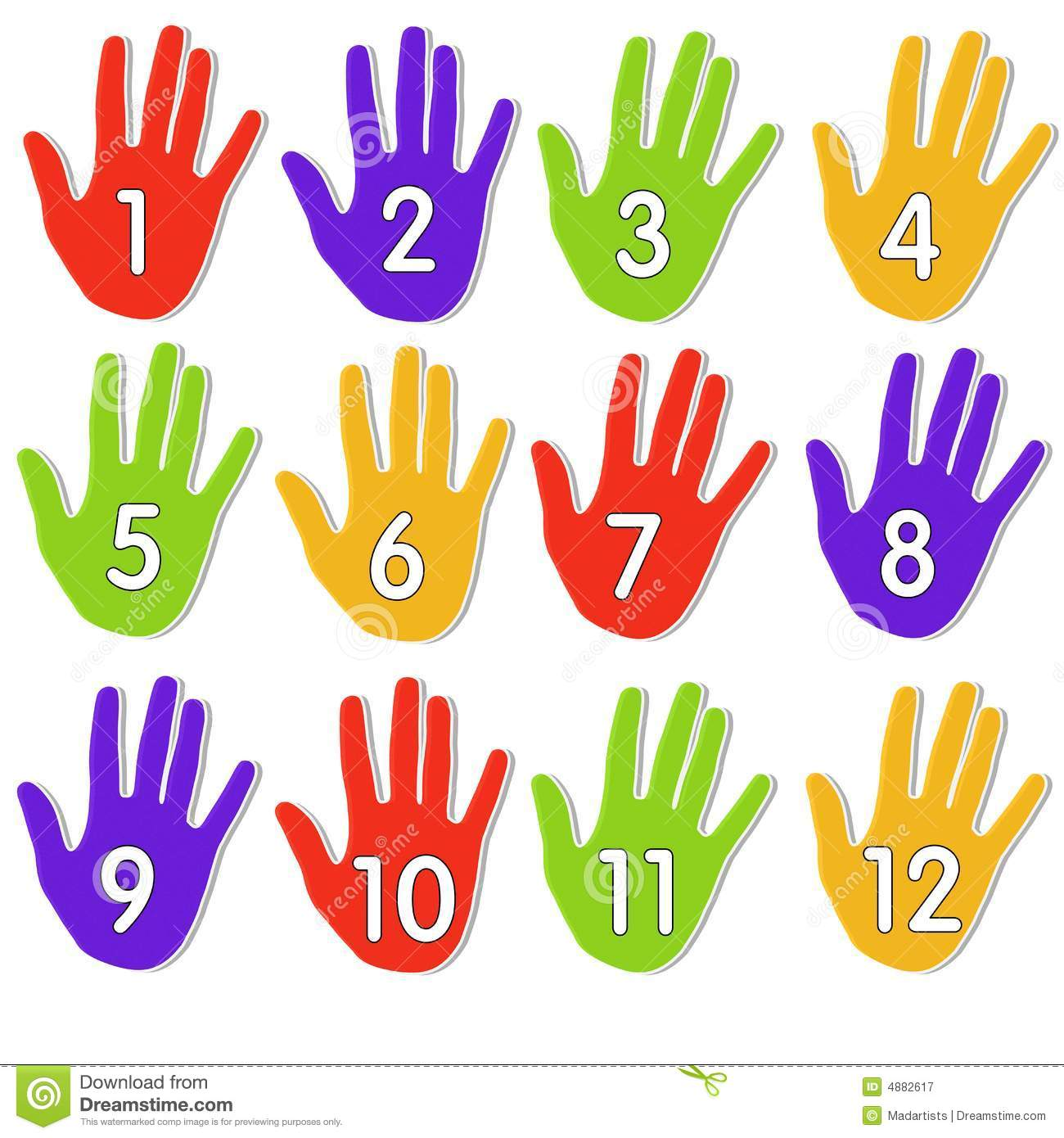 Colourful Numbered Hands