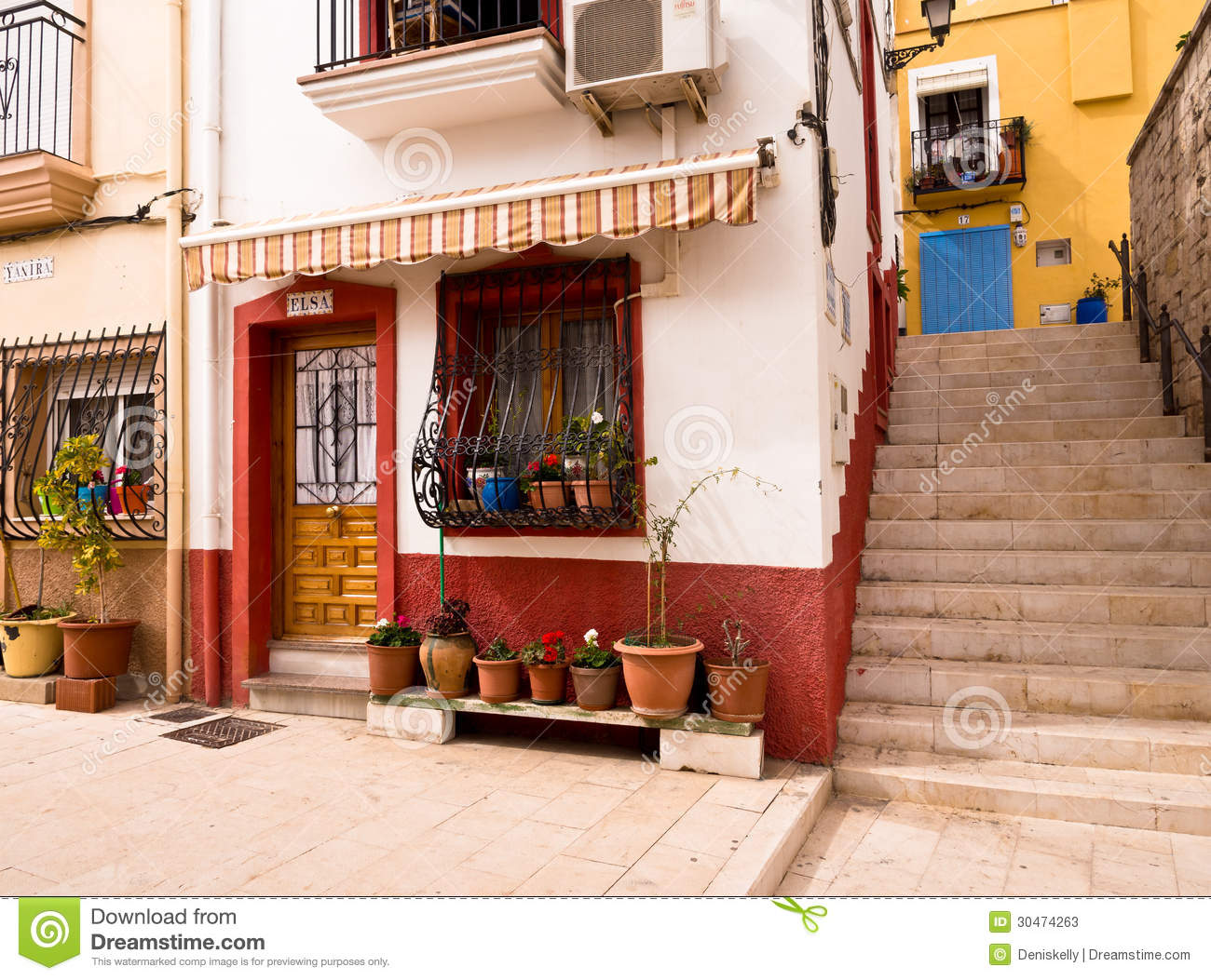 Colourful old houses in alicante spain editorial stock - Tiny house espana ...