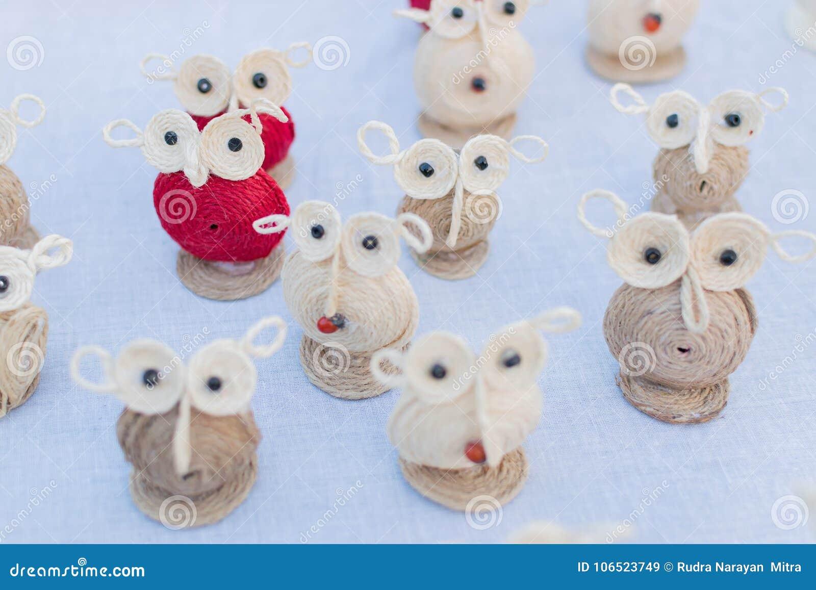 Dolls Of Owls Art Work Indian Handicrafts Fair At Kolkata Stock