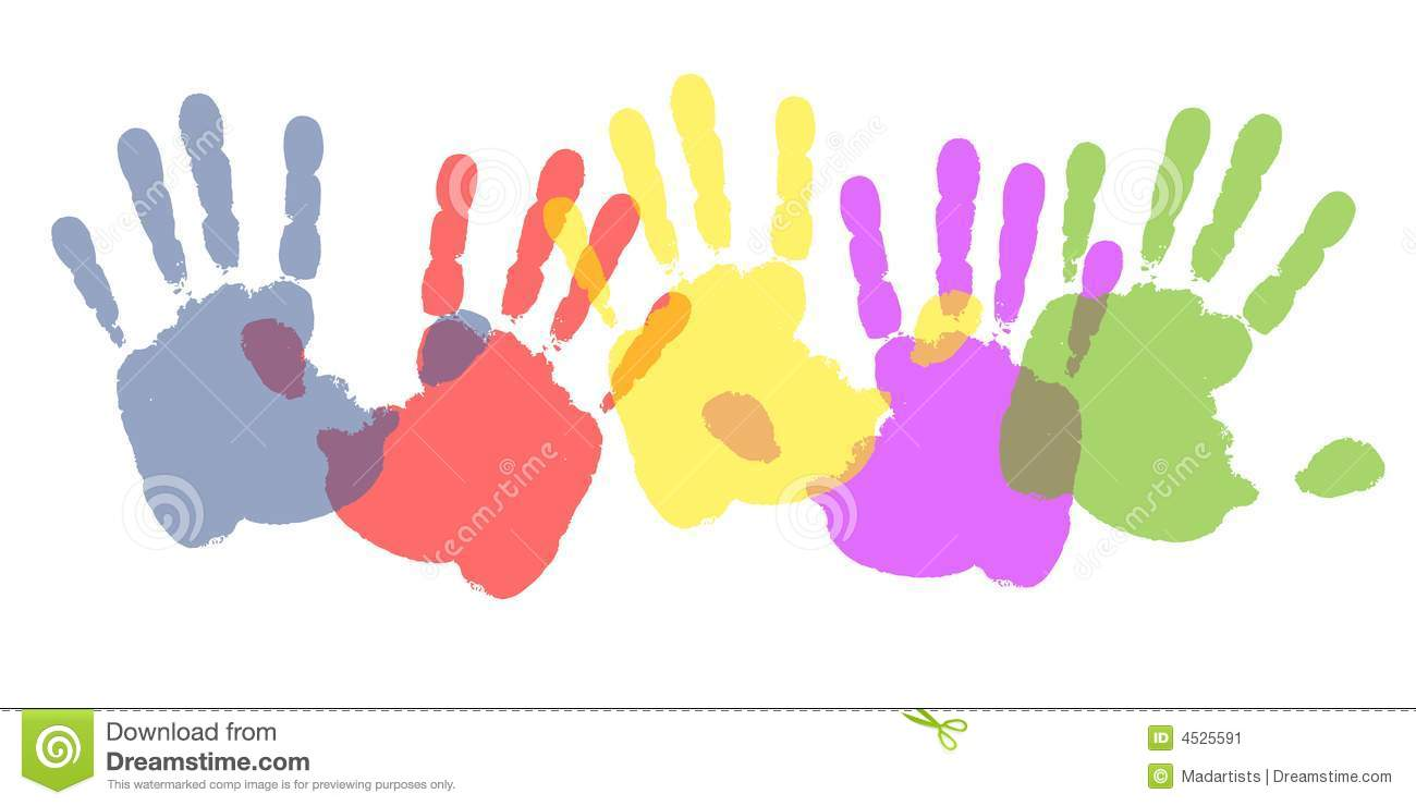 colourful paint handprints stock image image 4525591 Baby Handprint Clip Art Black and White Handprint Template