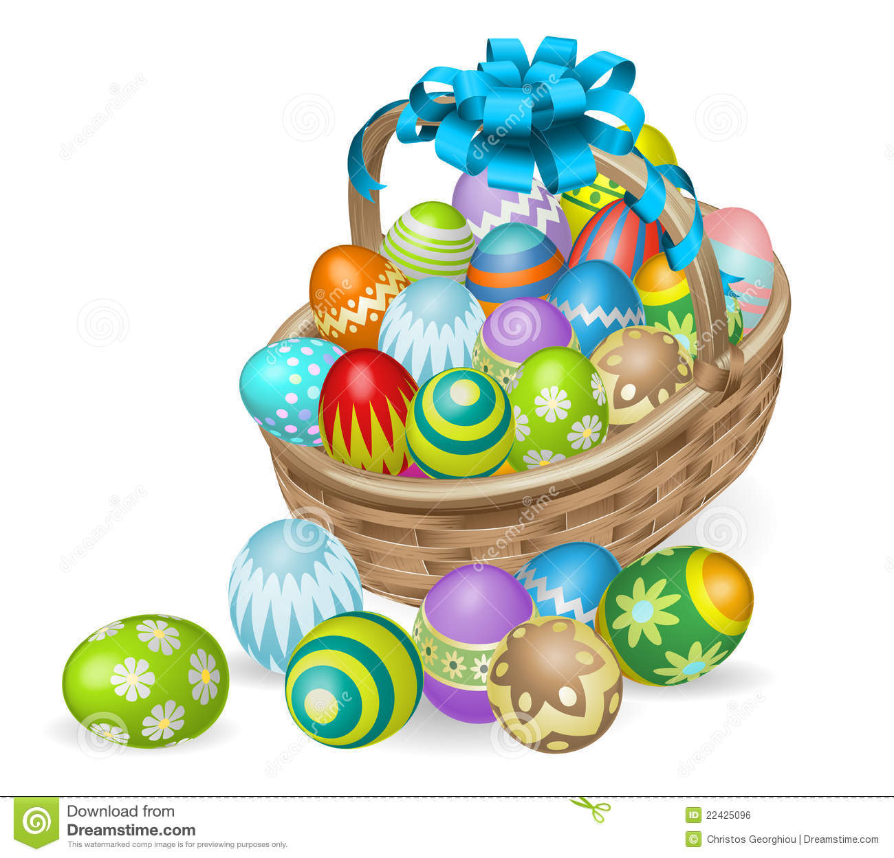 Colourful painted Easter eggs basket