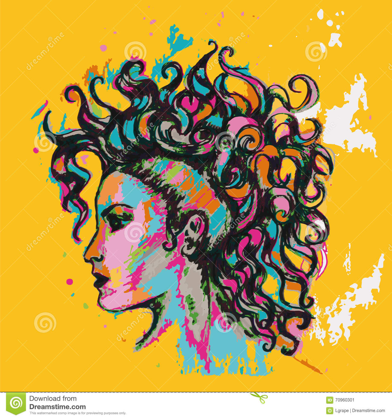 Colourful poster. Hairstyle. Girl with curls.
