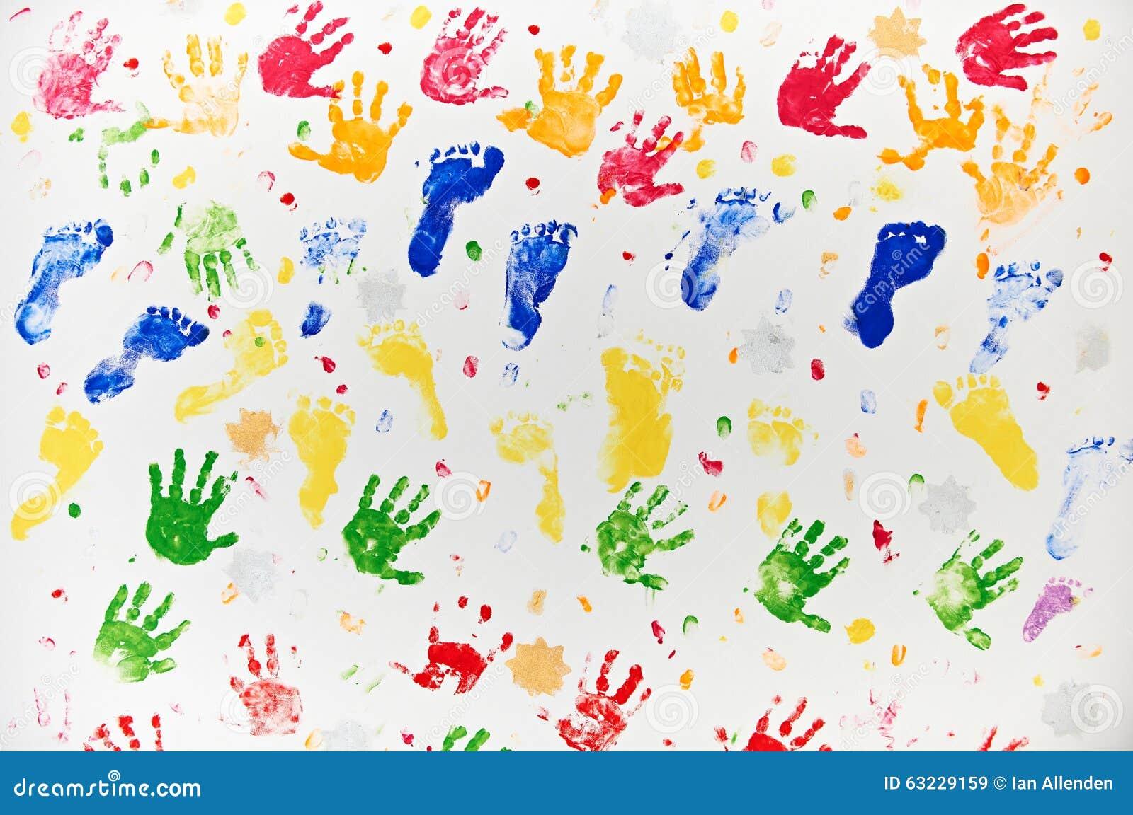Colourful projekt Robić Od dziecko stopy I ręki druków