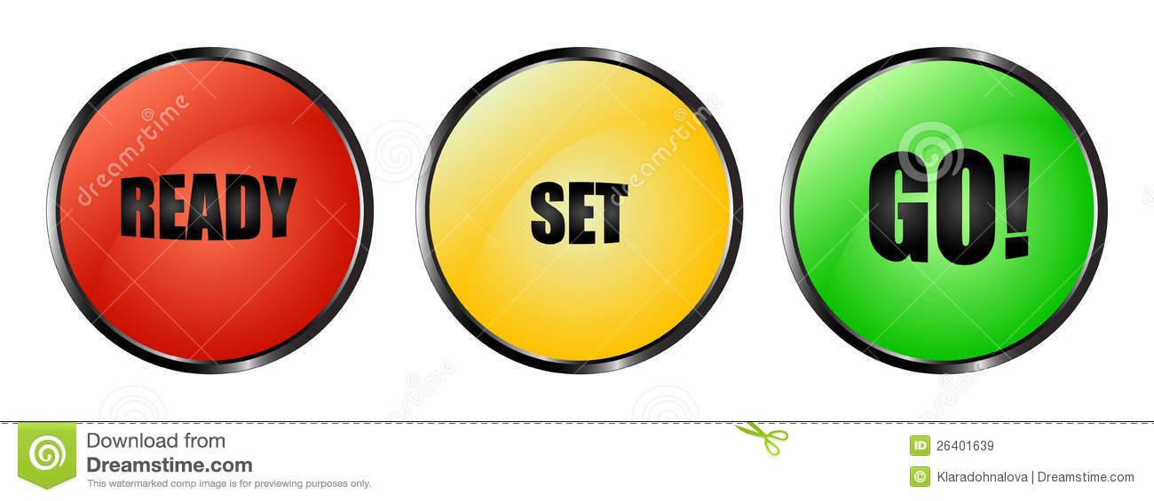 colourful ready set go buttons stock vector illustration of