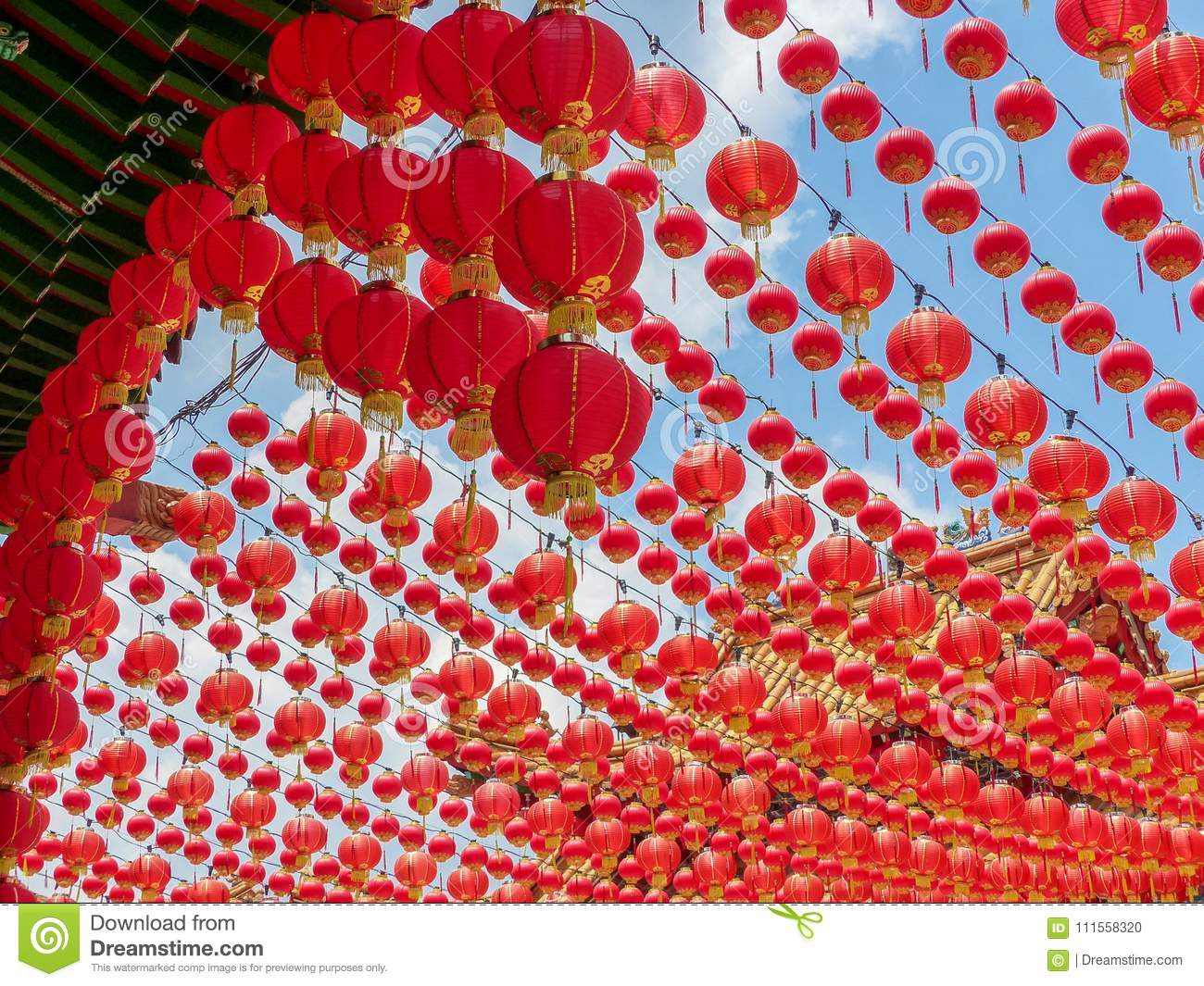 Colourful Red Canopy Of Chinese Lanterns At Thean Hou Temple