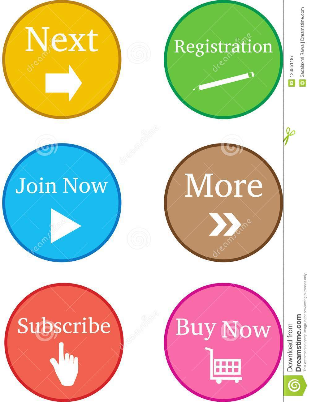Colourful Register Now Buttons