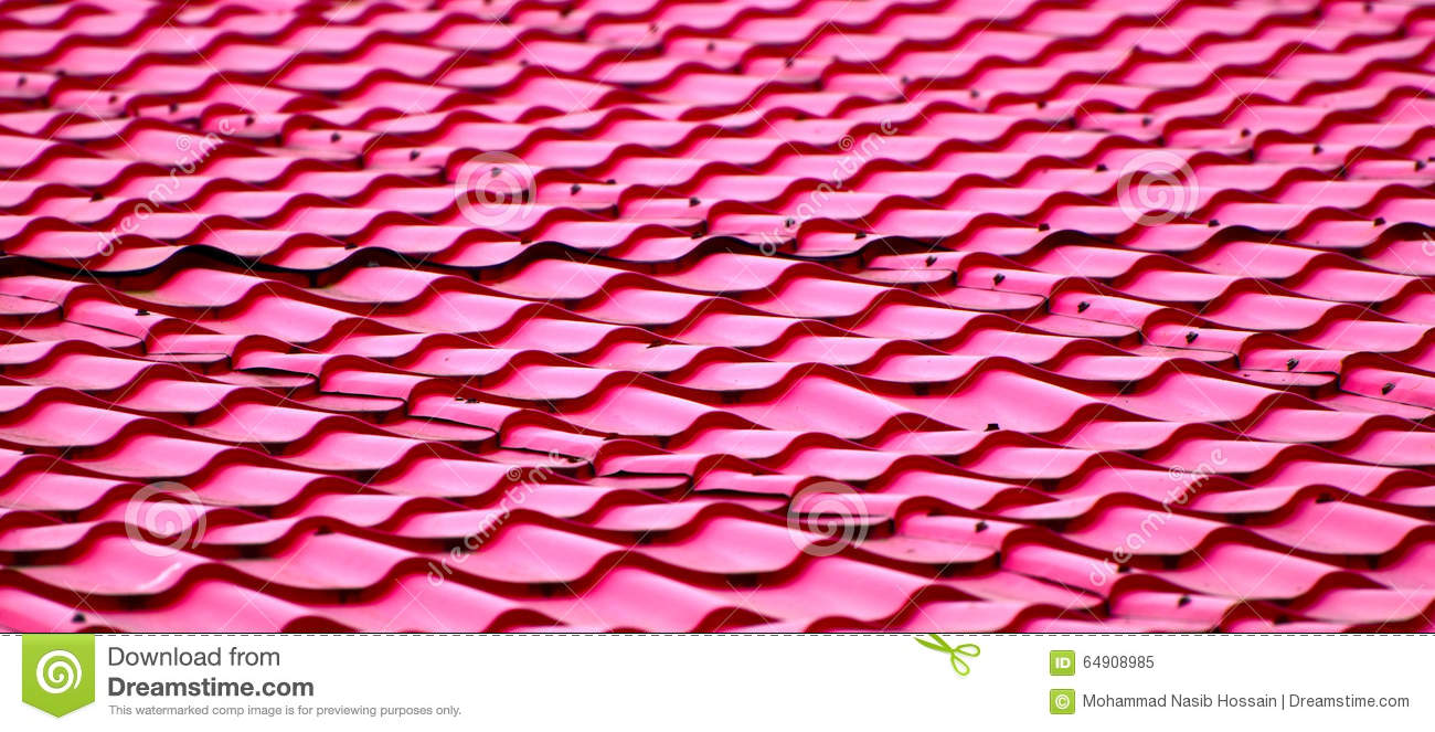 Metallic Red Roof Top Background Stock Photo Image 64908985