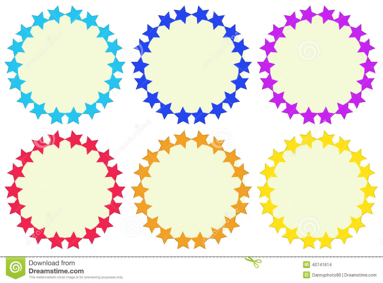 Colourful Round Empty Templates Made Of Stars Stock Vector
