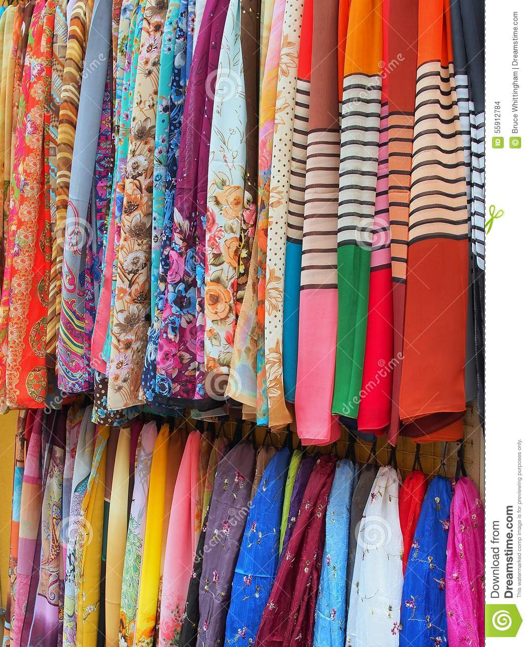 Kids Stock A Wide Selection Of Luxury Premium Cotton: Colourful Scarves, Italy Stock Photo. Image Of Cover