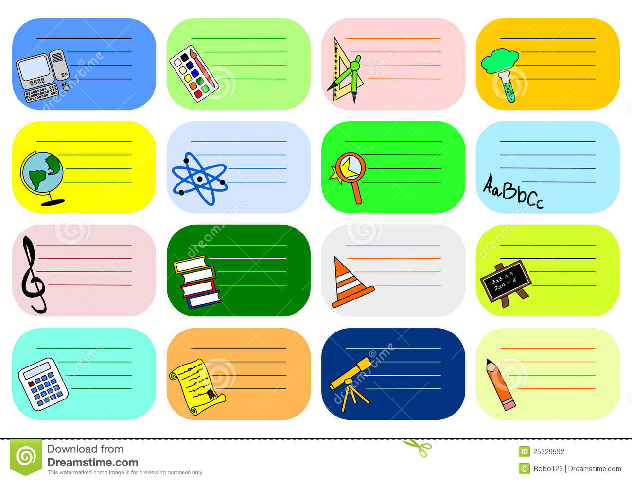 colourful school labels stock illustration  image of exam