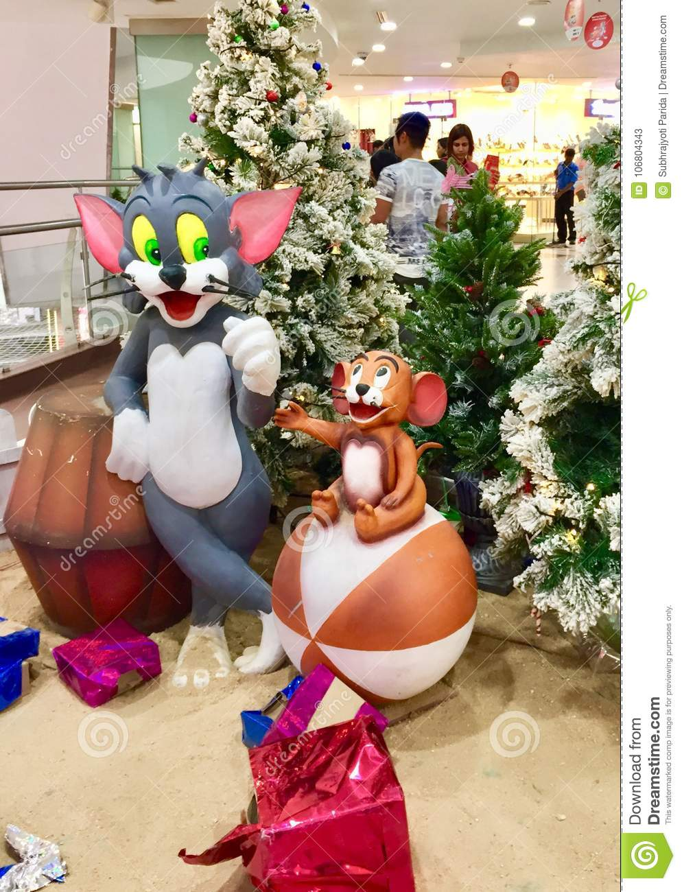 Colourful Sculptures Of Tom And Jerry Cartoon Characters Editorial ...