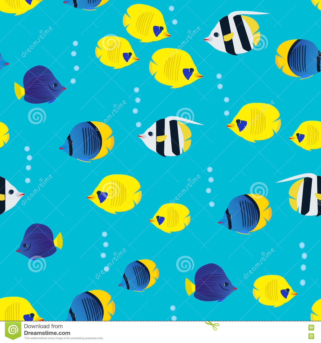 colourful seamless pattern with cartoon coral reef vivid fish on