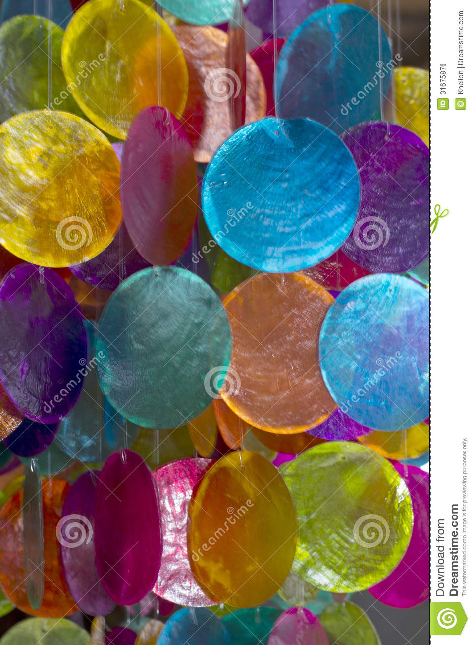 Colourful shell decorations