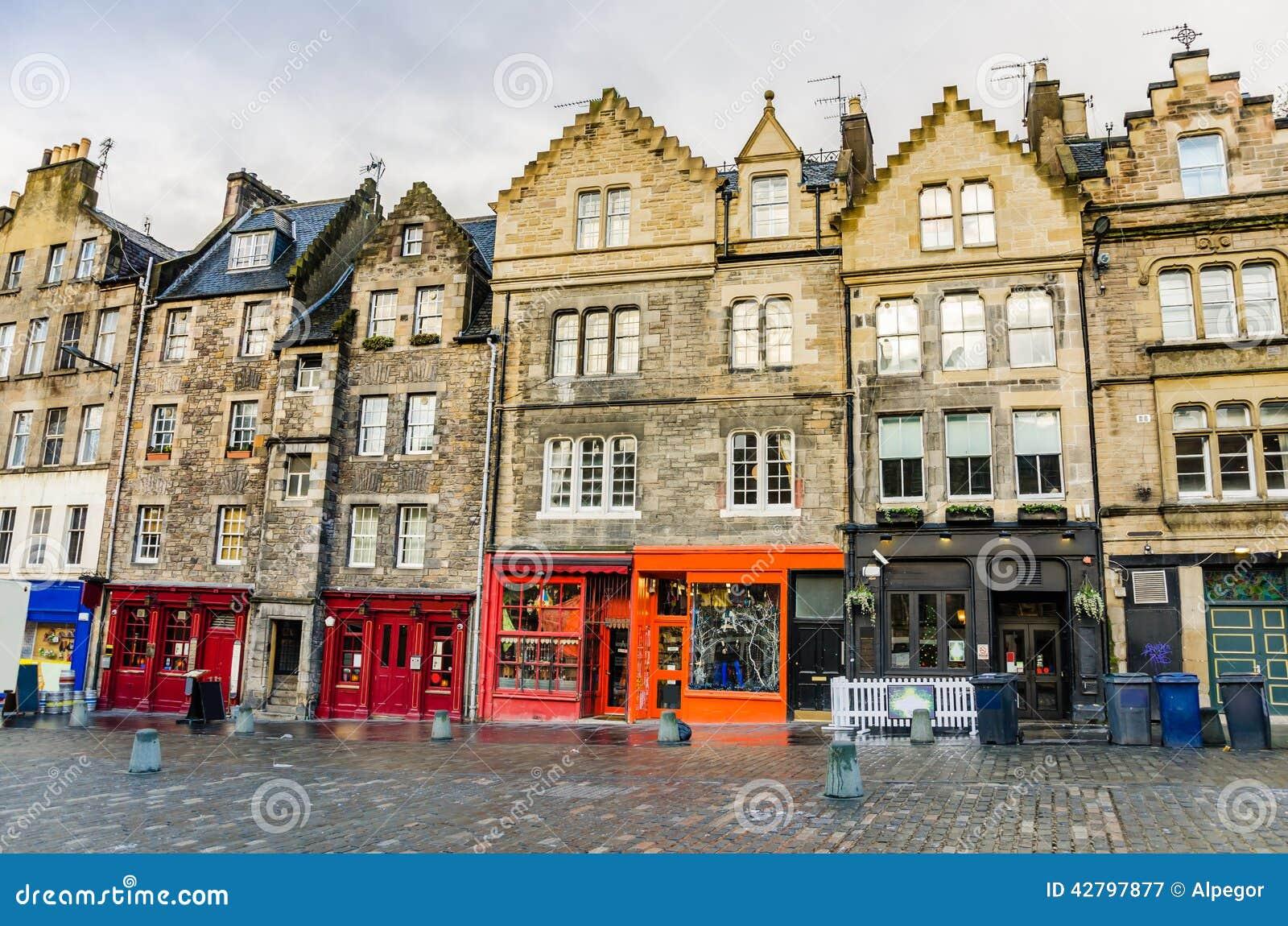 Colourful Shopfronts in Edinburgh Old Town