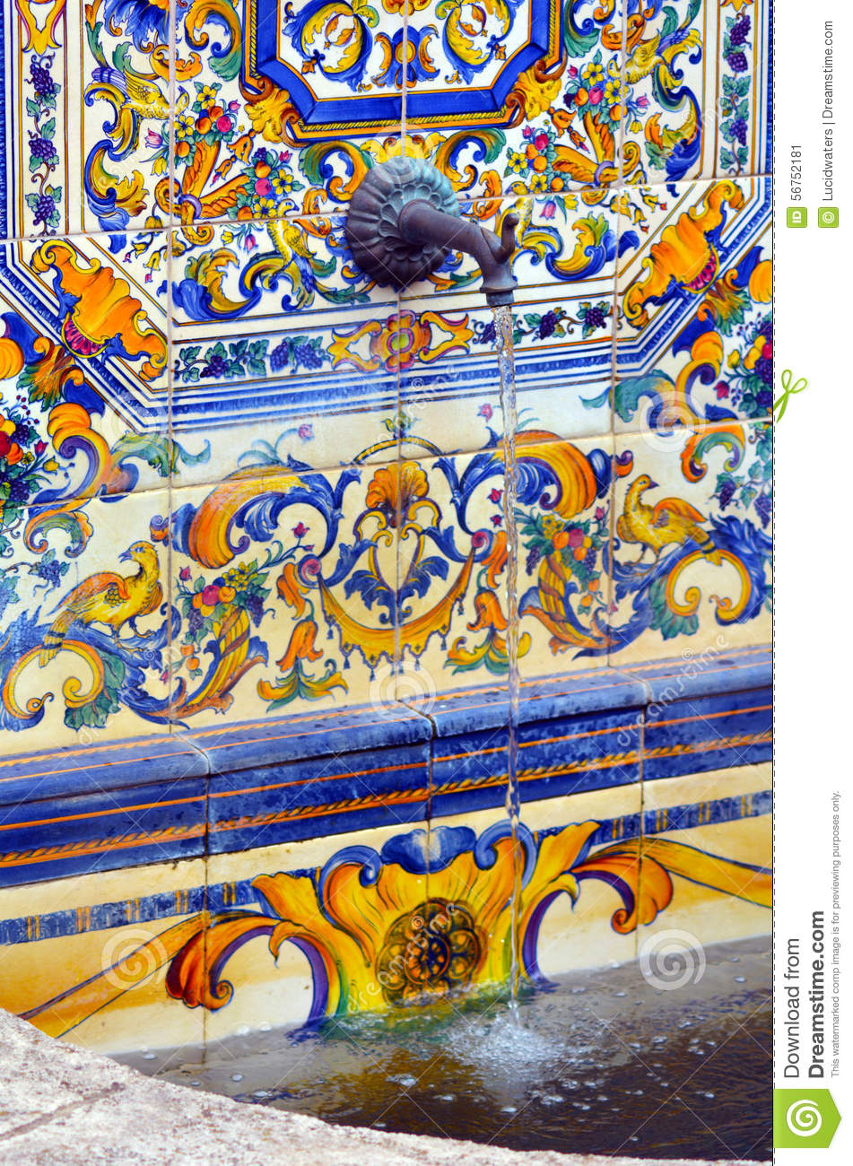 Colourful Spanish Tiles Decoration On Water Fountain Stock