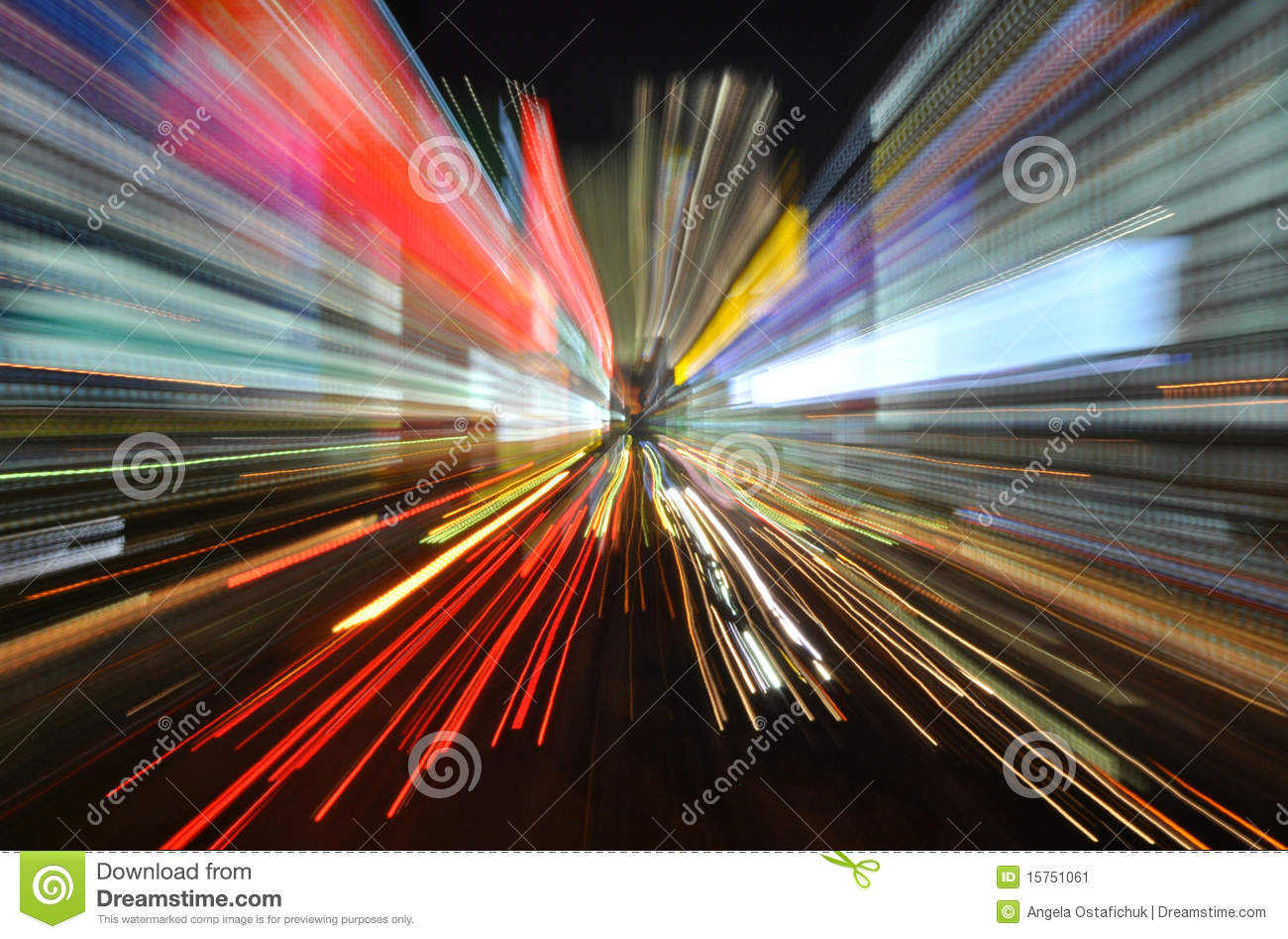 Colourful speed blur with light trails