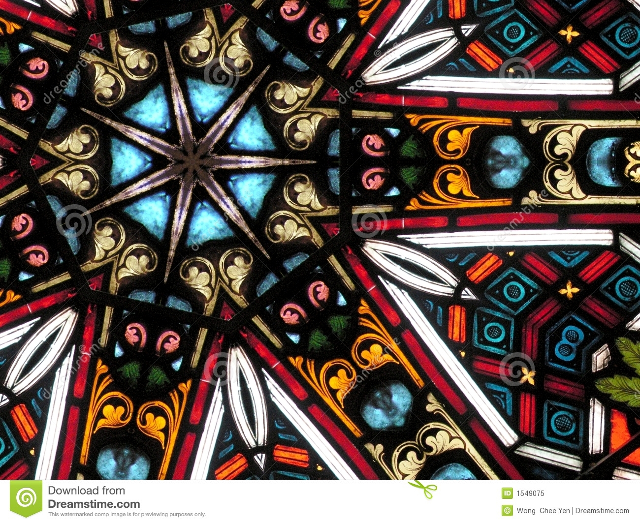 Colourful stained glass pattern 7