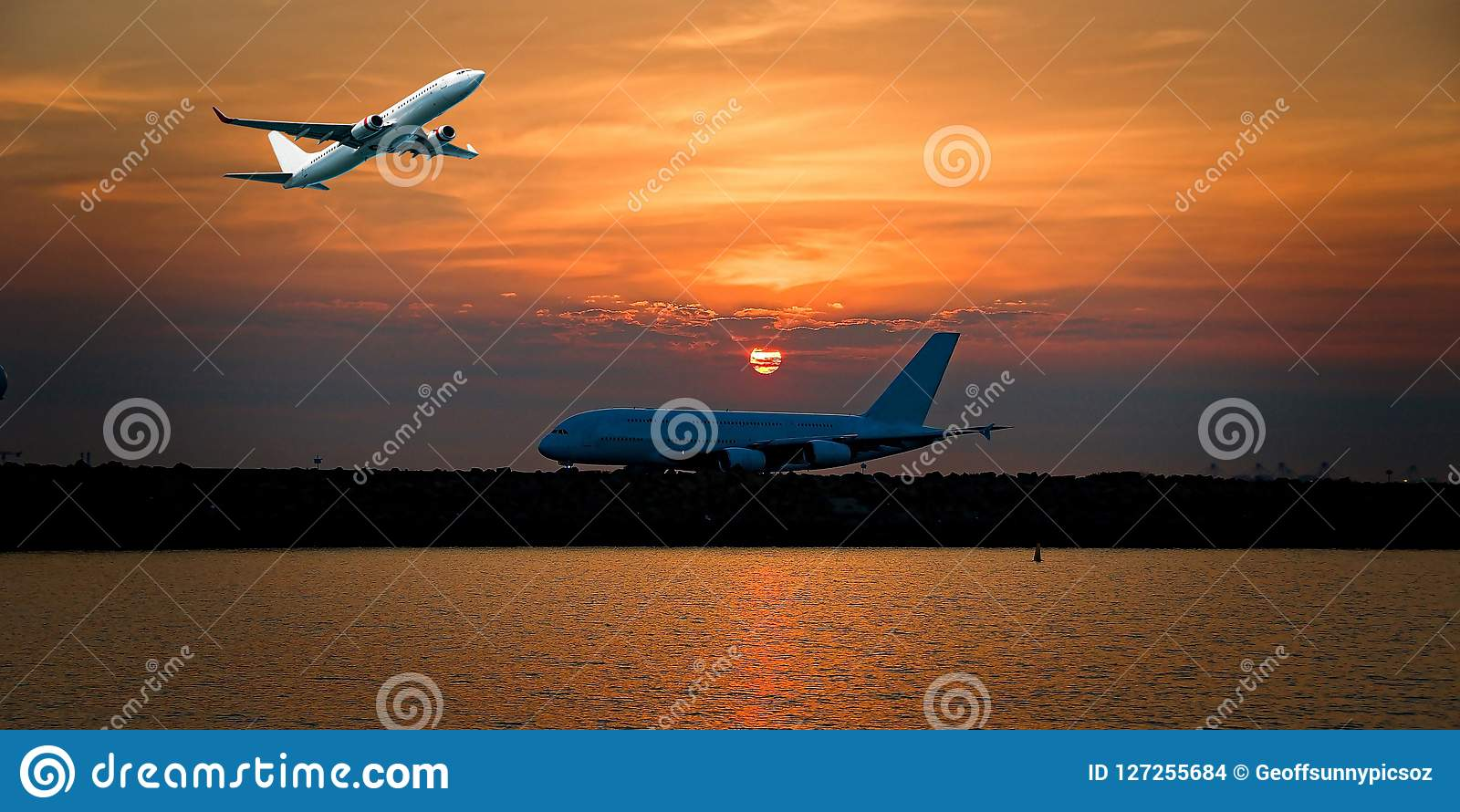 Jet Airliner Flying in an orange coloured cirrostratus cloudy sk