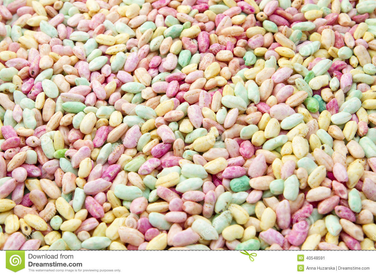 Colourful and sweet puffed rice