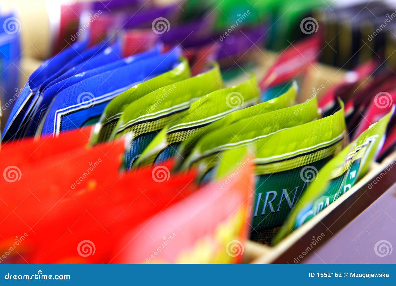 Colourful tea bags