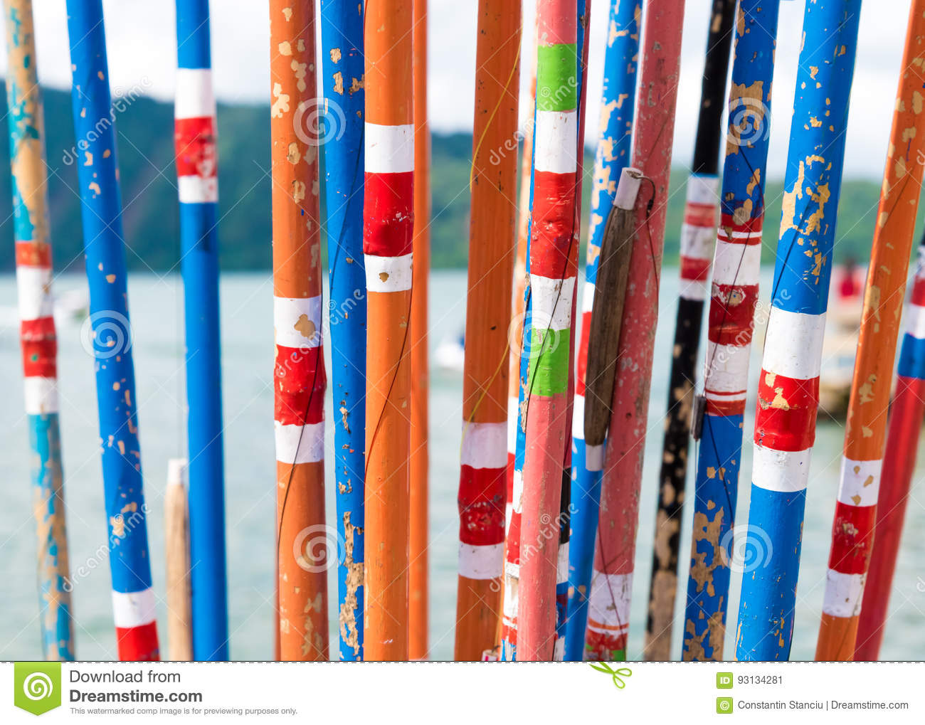 Colourful Traditional Bamboo Fishing Rods Stock Image - Image of ...