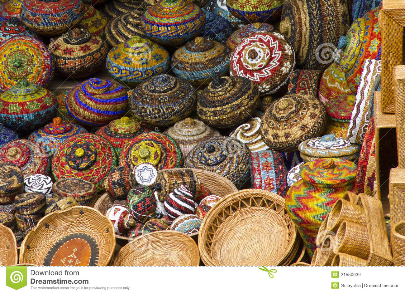 Handicraft Basketry : Colourful traditional handicraft basket stock image